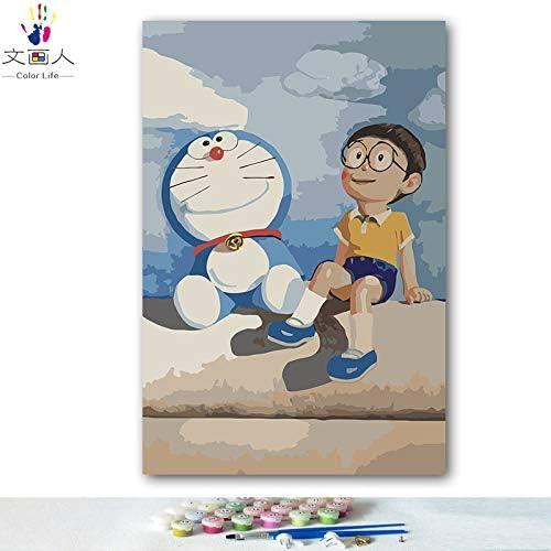 barato KYKDY KYKDY KYKDY Bricolaje dibujos para Colorar imágenes por números con Colors Doraemon Big bear robot gato imagen dibujo pintura por números enmarcados Inicio, 0320,60x75 sin marco  descuento online