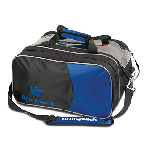 Brunswick Crown Double Bowling Ball Zweiballtasche inkl. Adressanhänger (blau, Double Tote Plus)
