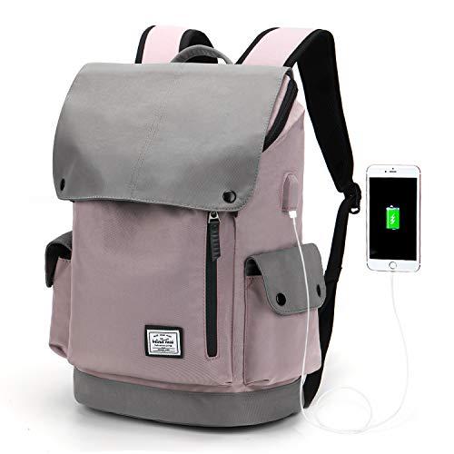 Wind Took USB Anschluss Laptop Rucksack Damen Herren Daypack Schulrucksack für 15,6 Zoll Notebook, Wasserabweisend, Lila