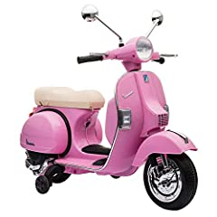Licensed Vespa Scooter 12V - leather seat, USB,Aux and sd card slot, working headlights