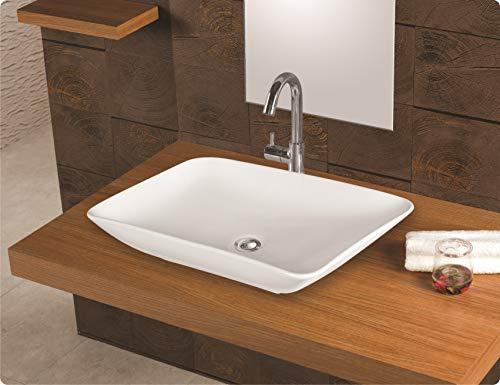 Design Keramik Waschtisch Aufsatz Waschbecken Waschplatz für Badezimmer Gäste WC, Aufsatzbecken Waschschale, Aufsatzwaschtisch handwaschbecken weiß farbe 59 x 28 x 10 Cm (BxTxH) rechteckige