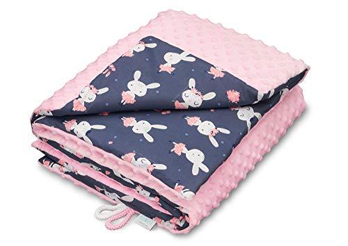 EliMeli Minky Babydecke Kuscheldecke Krabbeldecke | super weichem Minky Polar Fleece | Baumwolle | Füllung | 75x100 hoch Qualität (Pink -...