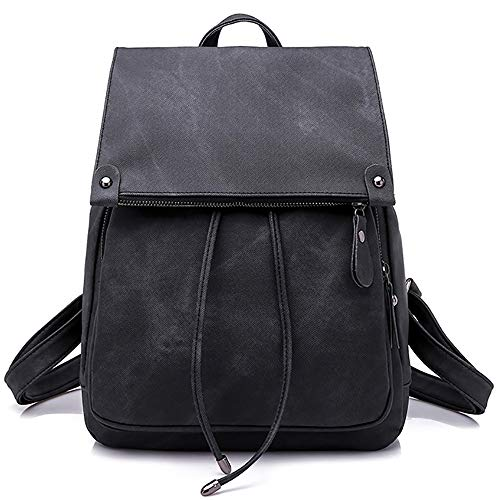 Women Backpack Waterproof Anti-theft Lightweight PU Fashion Leather Nylon School Shoulder Bag Travel Cute Backpack Girls Ladies(Black)
