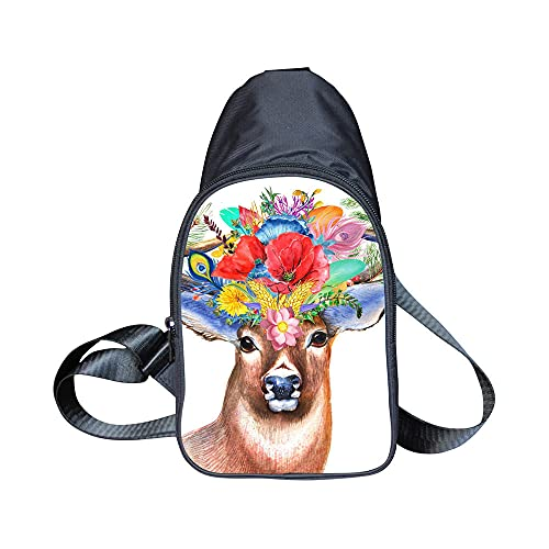 3D elk and Floral Pattern Shoulder Backpacks Small Sling Bags Chest Pack Holiday Accessories Men Women Crossbody