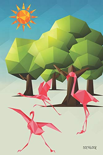 Notebook: Flamingo And Tree Geometric Polygon Cover 6x9' 100 Pages Blank Lined Gift Book Journal , Cute Flamingos Diary (Geometrics & Polygonal Notebook)
