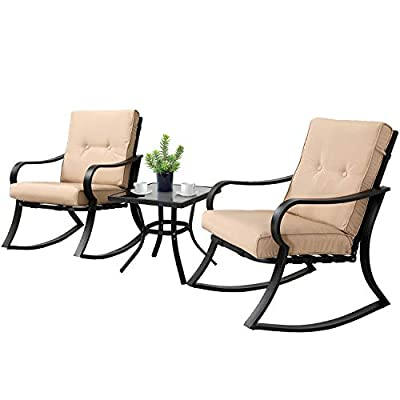 SOLAURA 3-Piece Outdoor Rocking Chairs Bistro Set, Black Steel Patio Furniture with Gray Thickened Cushion & Glass-Top Coffee Table