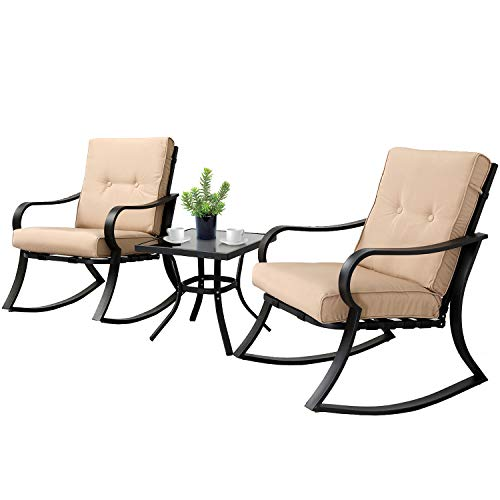 SOLAURA 3-Piece Outdoor Rocking Chairs Bistro Set, Black Steel Patio Furniture...