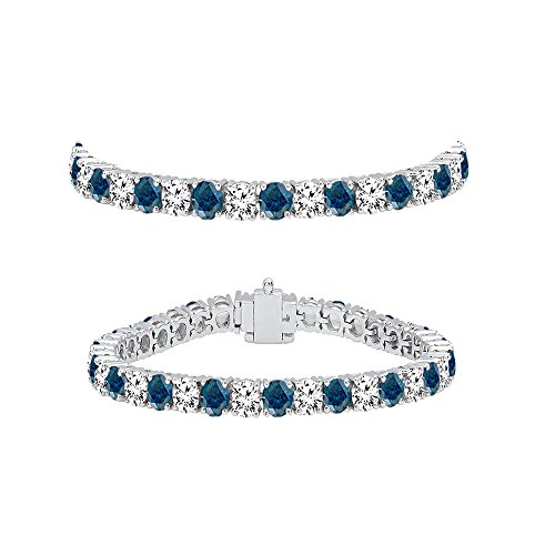 DazzlingRock Collection 5.00 Carat (ctw) 14K White Gold Round Cut Real Blue and White Diamond Ladies Tennis Bracelet 5 CT