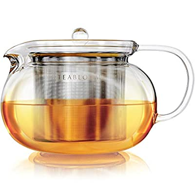 Teabloom Kyoto Stovetop Safe Teapot – Lead-Free and Cadmium-Free Clear Borosilicate Glass – Removable Stainless Infuser – Stovetop and Microwave Safe – 3-4 Cup Capacity / 36 OZ / 1050 ML
