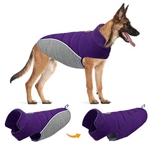 TVMALL Abrigo para Perros Abrigos y Chaquetas Reversibles para Perros Grandes Chaleco de algodón para Perros Reflectantes Invierno frío a Prueba de Viento Ropa para Perros Grandes y medianos