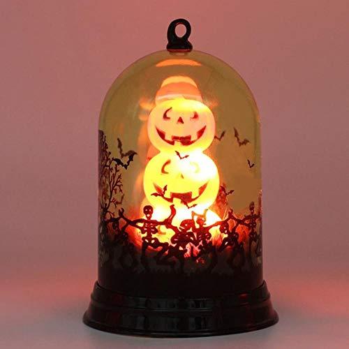 CTOBB 3D-pompoenlantaarn, Halloween-decoratie, led-nachtlampjes in een glazen koepel, werkt op batterijen, voor het aanbouwen van een feestje oranje