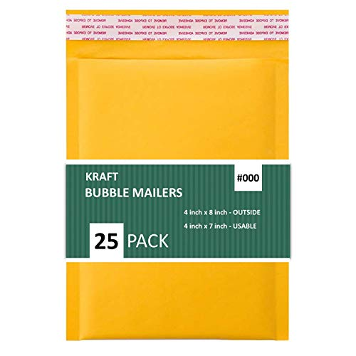 Sales4Less #000 Kraft Bubble Mailers 4X8 Inches Shipping Padded Envelopes Self Seal Waterproof Cushioned Mailer 25 Pack