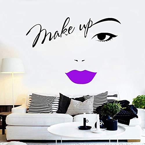Ajcwhml Maquillaje Cejas Apliques de Pared Labios Rojos Pegatinas calcomanías de Letras de Vinilo salón de Belleza Tienda de cosméticos decoración Moda Pegatinas de Pared diseño 79cm x 56cm