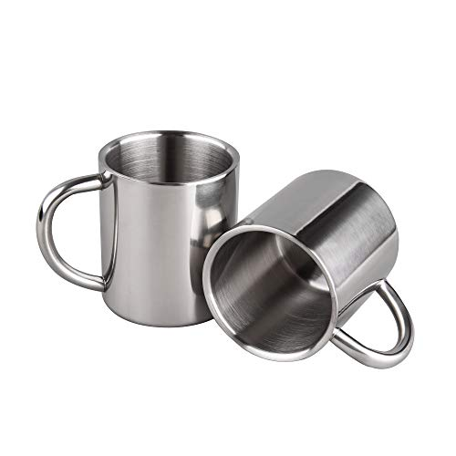 IMEEA 220ml Edelstahl Doppelwand Becher Tee Cup Trank Trinkbecher für Kinder, 2 Stück