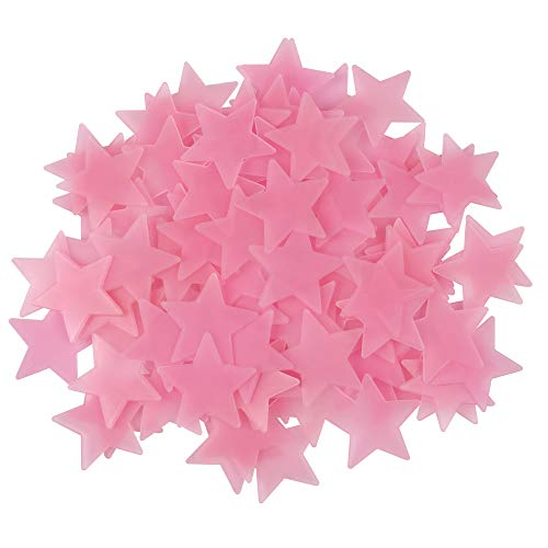 Amaonm 100 Pcs Pink Glow in The Dark Luminous Stars Fluorescent Noctilucent Plastic Wall Stickers Murals Decals for Home Art Decor Ceiling Wall Decorate Kids Babys Bedroom Room Decorations …