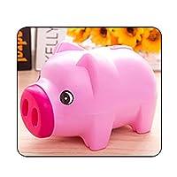 コインマネーボックスキッズギフト節約現金ポータブル3カラー家の装飾かわいい漫画動物プラスチック貯金銀行子供用保管 (Color : Rose red)