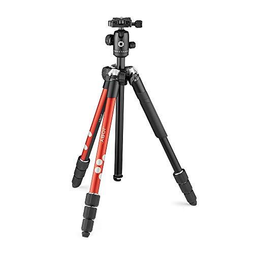 JOBY RangePod、全伸高160cm、アルミニウム トラベラー カメラ/スマートフォン三脚ボール ヘッド、ユニバーサル スマートフォン クランプとキャリング バッグ、CSC、デジタル一眼レフ、ミラーレス、スマホ、赤、ビデオ、ブログ、YouTube