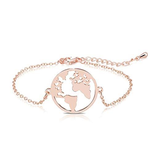 Vintage Round Origami World Map Necklace Women Geometric Earth Globe Map Necklace Circle Pendants Choker Jewelry 18' (Bracelet rose gold)
