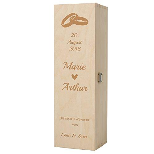 HISTORIA Weinkiste aus Holz als persönliches Geschenk mit Gravur zur Hochzeit - Das Individuelle Hochzeitsgeschenk