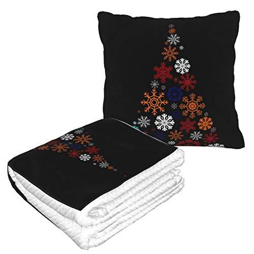Manta de almohada de terciopelo suave, 2 en 1 con bolsa suave, decoración de copos de nieve, árbol de Navidad, funda de almohada negra para casa, avión, coche, viajes, películas