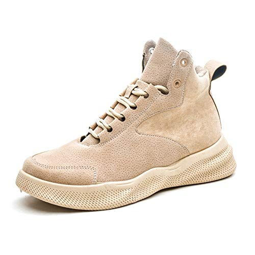 ZHOUYUFAN Casual enkellaarsjes for Heren Hoge Top Sneakers Lace up PU Leather Platform Lightweight Anti-slip Split Joint ronde neus (Color : Camel, Size : 44 EU)