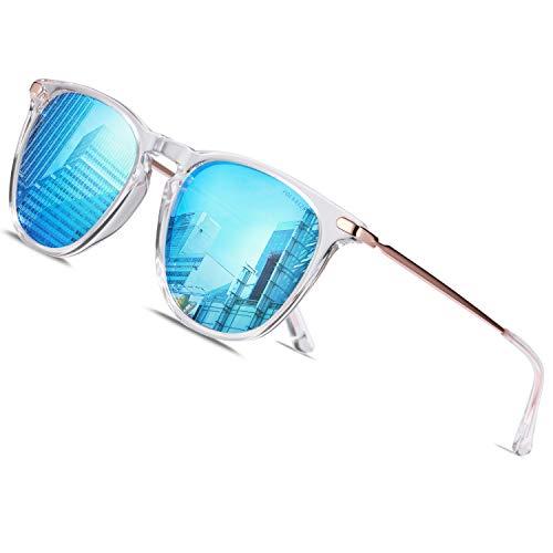 TSEBAN Vintage Damen Sonnenbrille Polarisierte Frauen Brille, Acetat-Rahmen & UV 400 Schutz,Transparent; Linse: Verspiegelt Blau,Einheitsgröße