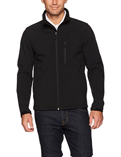 Amazon Essentials Men's Water-Resistant Softshell Jacket, Black, Medium