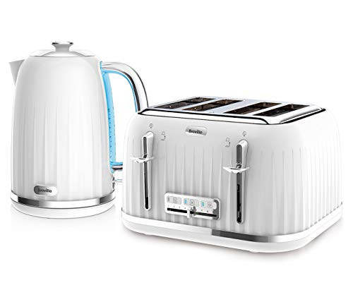Breville Impressions Kettle & Toaster Set with 4 Slice Toaster & Electric Kettle (3 KW Fast Boil), White
