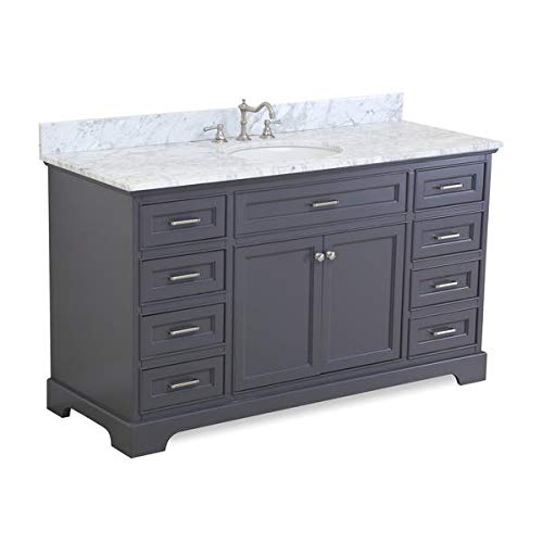 Aria 60-inch Single Bathroom Vanity (Carrara/Charcoal Gray): Includes Charcoal Gray Cabinet with Authentic Italian Carrara Marble Countertop and White Ceramic Sink