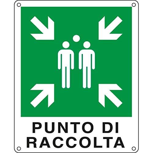 CARTELLO ALLUMINIO 25x31cm 'PUNTO DI RACCOLTA' CARTELLI SEGNALATORI