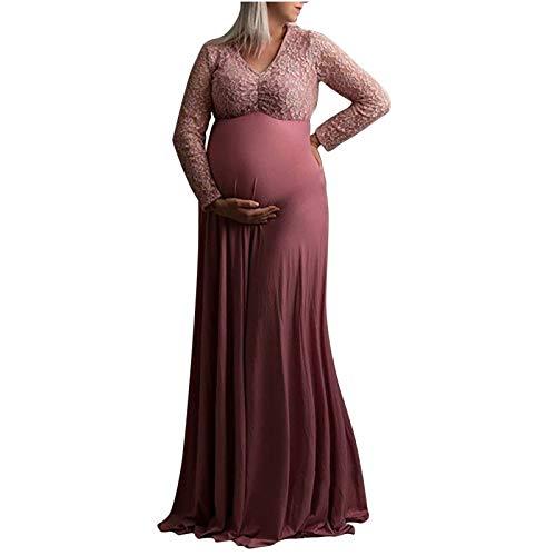 Vestido largo para mujer con encaje y encaje para sesiones fotográficas rosa XL