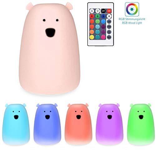 Navaris LED Nachtlicht Bär Design - Fernbedienung Micro USB Kabel - Süße RGB Farbwechsel Kinder Nachttischlampe - Eisbär Schlummerlicht Rosa
