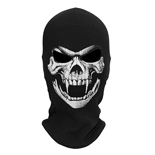 WTACTFUL Fangs Scary Skeleton Skull Balaclava Ghost Death Neck Warmer Face Mask Headwear Protection Motorcycle Cycling Skiing Snowboarding Cosplay Costume Halloween Party Winter/Summer Grim04 Black