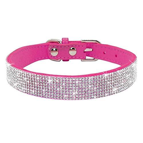 Haoyueer Collar de perro con diamantes de imitación, bonito y deslumbrante de piel de ante suave y suave, collar de diamantes de imitación de cristal, collar de perrito de perro (L, rosa caliente)