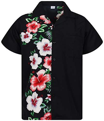 V.H.O. Funky Hawaiihemd, Kurzarm, Wedding, schwarz, 6XL