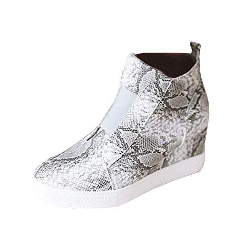 Erneut Damen Keilabsatz Plateau Sneaker Stiefeletten Ankle Boot Kunstleder Freizeitschuhe mit Reißverschluss