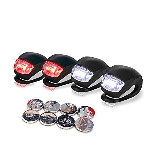 LUZWAY Éclairages Vélo LED Silicone Lumière LED Velo Avant et Arrière,Lampe LED de Vélo...
