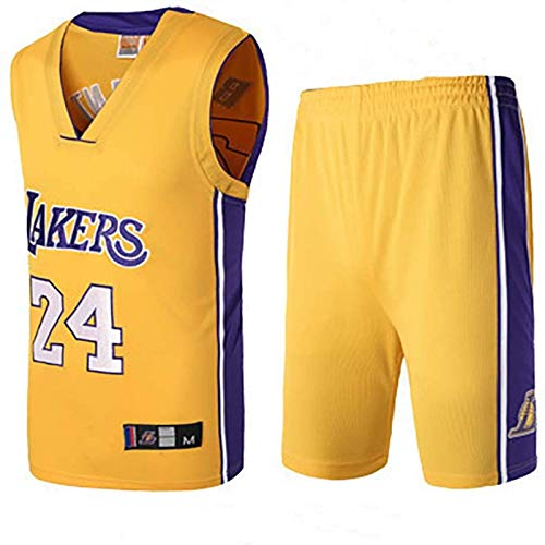 DHJHG Lakers No. 24 Basketball Jersey, Men's and Women's Sports Jersey Vest and Shorts Suit, Polyester Fabric, Indoor and Outdoor Sports Basketball Uniforms XL