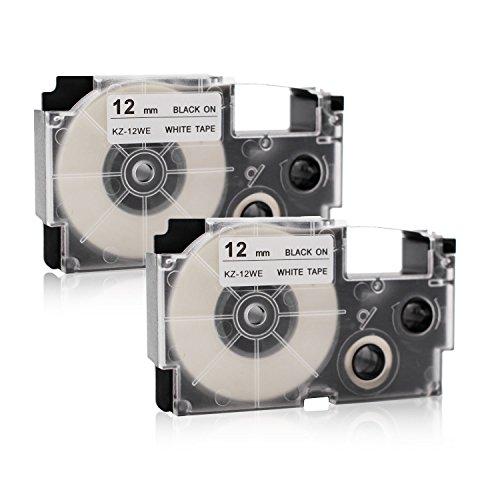 2x Labelwell 12mm x 8m Compatible Cintas de Etiqueta Reemplazo para Casio XR-12WE XR-12WE1 Negro sobre Blanco para Casio KL-60 KL-120 KL-820 KL-70e KL-100e KL-100 KL-200 KL300 CW-L300 KL-750 Impresora