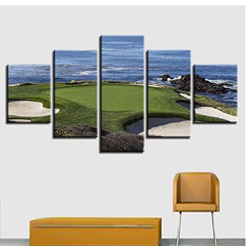 ZZHPlanet Nordischer Stil Leinwandbilder Modulare Poster 5 Stücke Golfplatz Drucke Blue Sea Landschaftsmalerei Rahmen Wandkunst Dekor Hause Wohnzimmer Ländliche Landschaft