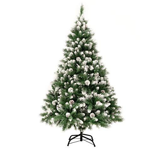 GIGALUMI Künstlicher Weihnachtsbaum mit Schnee-Effekt 150cm 760 Spitzen Tannenbaum mit beschneiten Ästen und Tannenzapfen inkl. Metallständer