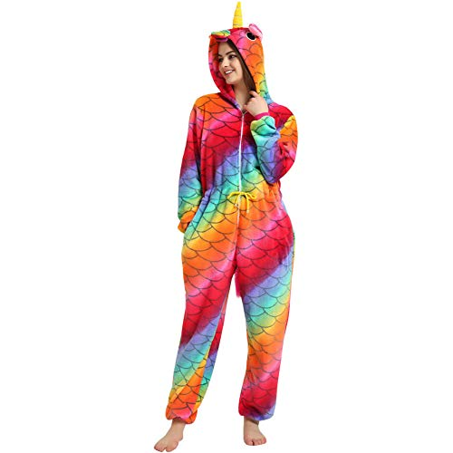 LPATTERN Erwachsene Damen/Herren Cartoon Kostüm- Jumpsuit Overall Schlafanzug Pyjamas Einteiler, Bunt Schuppen Pferd, S für Körpergröße 145-155CM