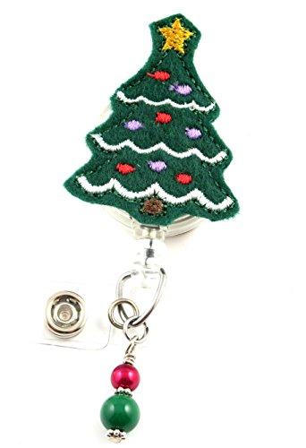 Christmas Tree w/Bulbs Dk Green - Nurse Badge Reel - Retractable ID Badge Holder - Nurse Badge - Badge Clip - Badge Reels - Pediatric - RN - Name Badge Holder