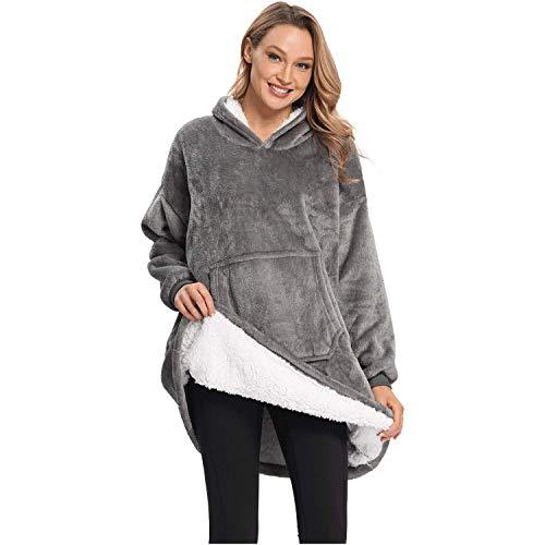 DURINM Mujer Sudadera Caliente y Esponjoso Tops Chaqueta Suéter Jersey Mujer Otoño Invierno Talla Grande Hoodie Sudadera Suelto Sólido Manga Larga (Gris)