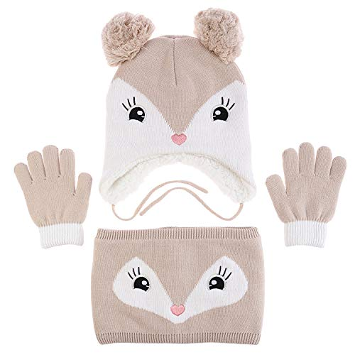 amropi Mädchen Kinder Mütze Handschuhe und Schal Set Bausatz Winterwärme (Khaki, 2-5 Jahre)