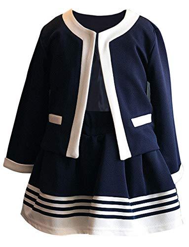B-talk(ビートーク) 女の子 フォーマル スーツ セットアップ ジャケットスカート 上下 セット 正装 長袖 キッズ 紺 120 130