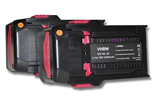 vhbw 2xAkku passend für Hilti VC 20-UL-Y, VC 20-UM-Y, VC 40-UL-Y, VC 40-UM-Y, RC 4/36-DAB Werkzeuge (4000mAh, 36V, Li-Ion)