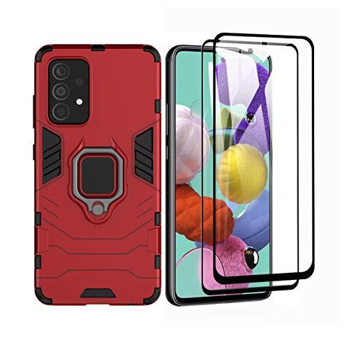 GOGME Funda para Xiaomi Poco F3 / F3 Pro y 2 Piezas Cristal Templado, Shockproof Carcasa con 360 Grados Giratorio Anillo Kickstand, Hard PC y Silicona TPU Hybrid Armor Case. Rojo