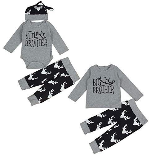 Kleinkind Neugeborenes Baby Geschwister Outfits Big Brother Little Brother Deer Romper (Color : Gray, Size : Little bro 0-6M)