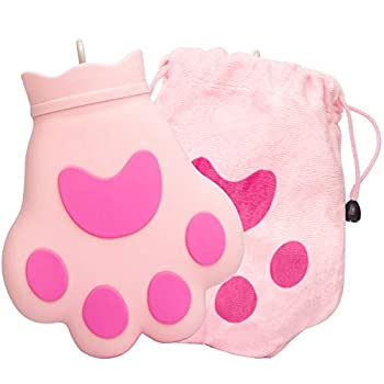 BE Hot Water Bottle with Cover Cute Cat s Claw Shaped,Rubber - Heat Therapy,Cold Therapy for Cramps Pain Relief Arthritis Menstrual Cramps,Aches and Pains,Gifts for Women Men,350ML  Pink